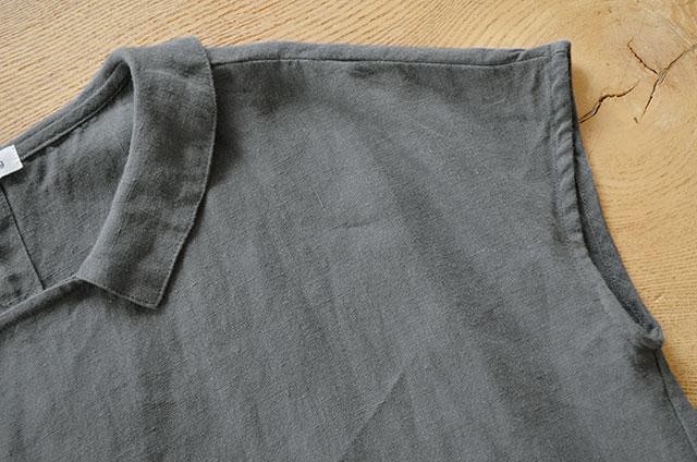 b191473471660 履いているボトムス リネンキャンバスタックボリュームパンツ.  送料無料 リネンキャンバス フラットカラーワンピース(全2色)